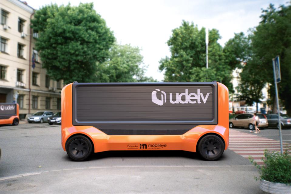 The Udelv Transporter automated delivery vehicle powered by Mobileye Drive