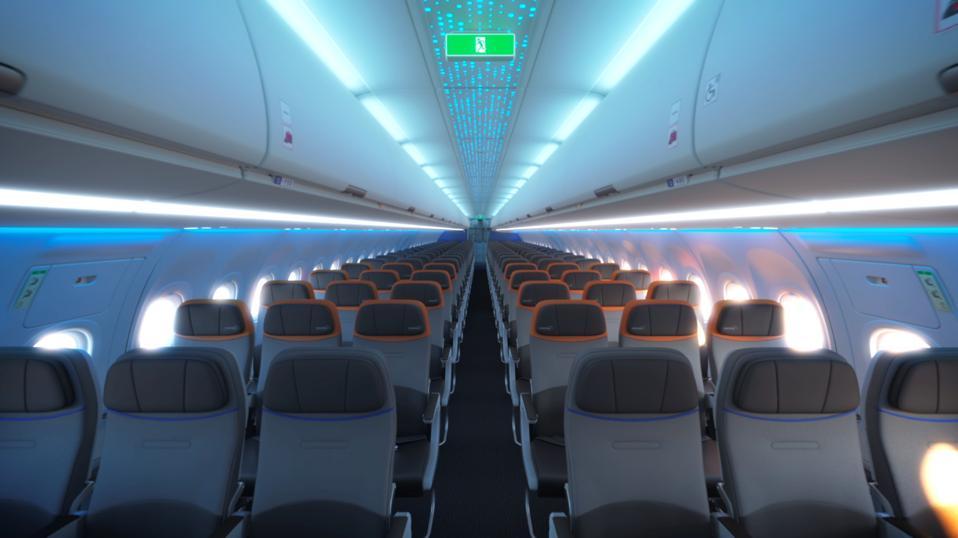 Interior view of JetBlue A321LR for 2021 transatlantic flights.