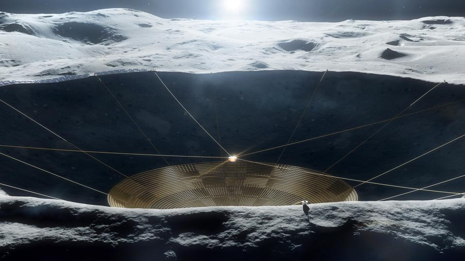 Illustration of a conceptual radio telescope within a crater on the Moon. The early-stage concept is being studied under grant funding from the NASA Innovative Advanced Concepts program but is not a NASA mission.