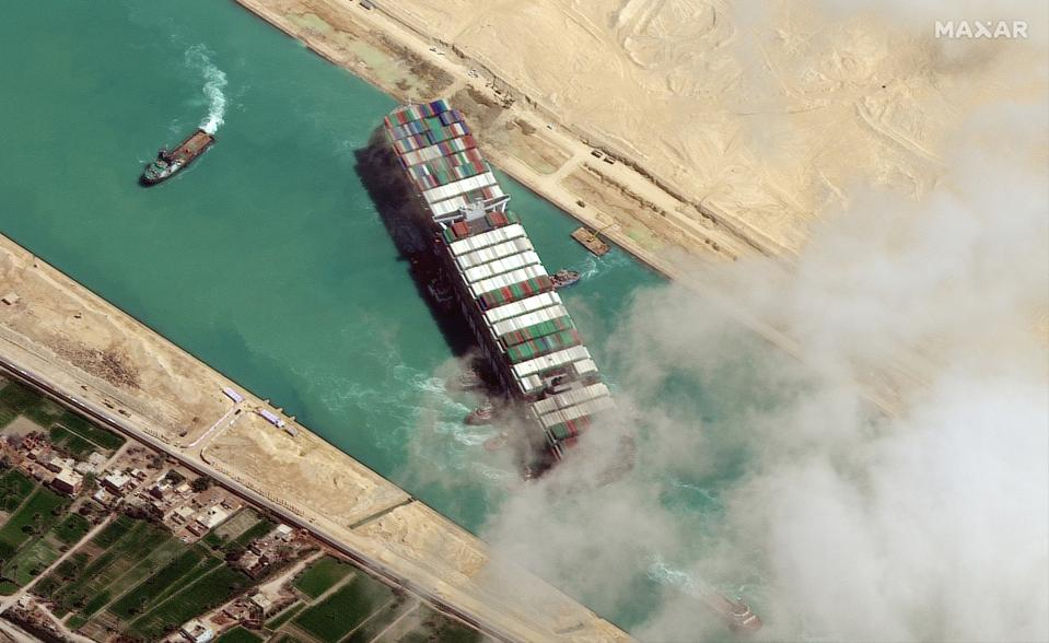STUCK SHIP EVER GIVEN, SUEZ CANAL -- MARCH 29, 2021:  Maxar new high-resolution satellite imagery of the Suez canal and the container ship (EVER GIVEN) that remains stuck in the canal north of the city of Suez, Egypt.