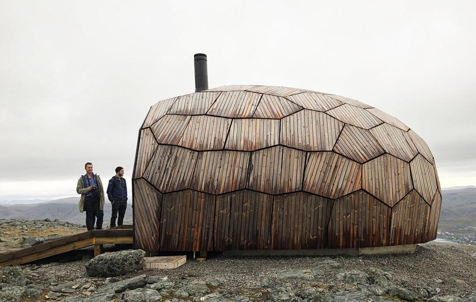 A wooden cabin with a prefabricated honeycomb-like structure in Northern Norway.