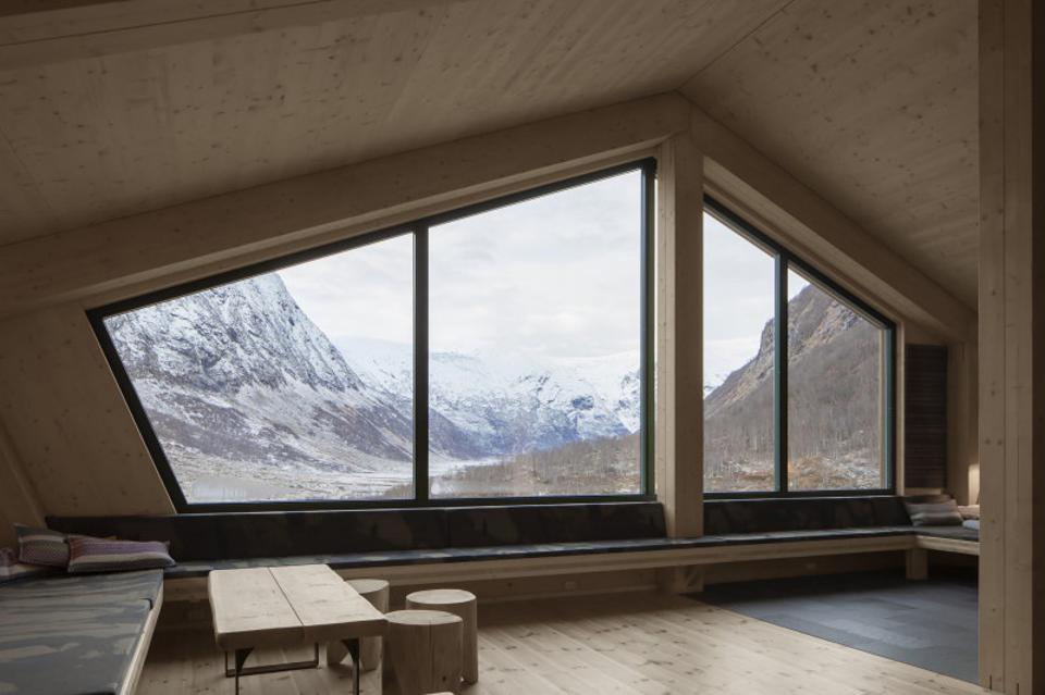 The interior of the Tungestølen tourist cabin in Norway.