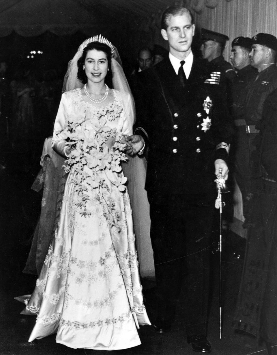 Queen Elizabeth II, as Princess Elizabeth, and her husband the Duke of Edinburgh at their wedding