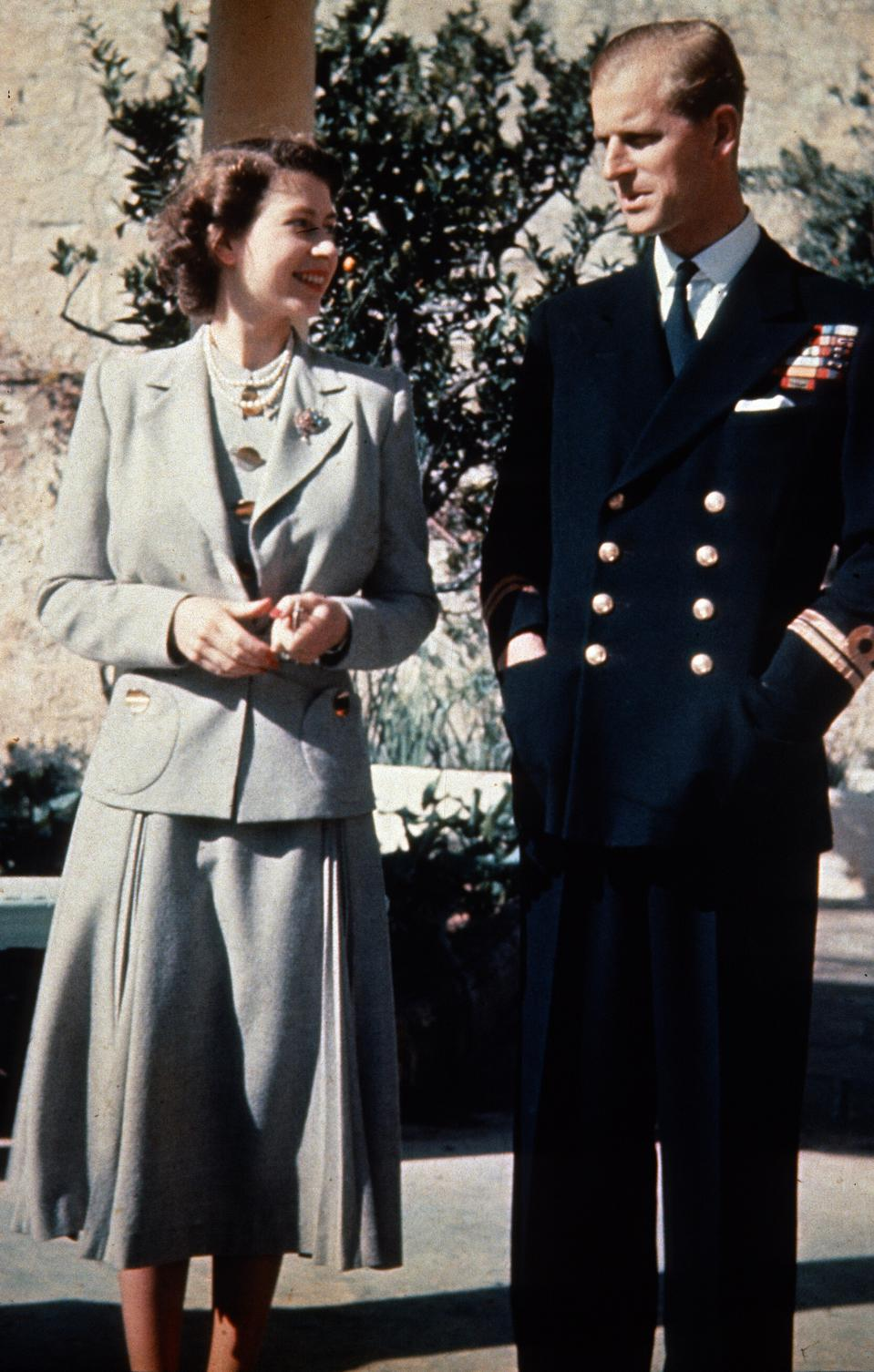 Princess Elizabeth and her husband Prince Philip during their honeymoon in Malta