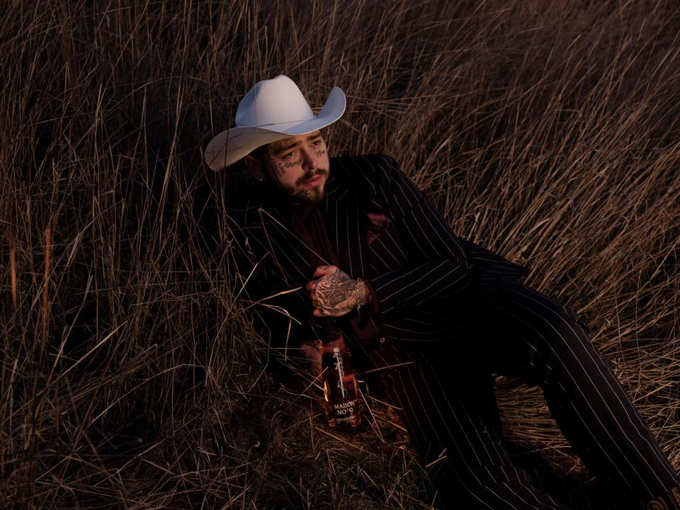 Post Malone sits in a field with a bottle of rose wine