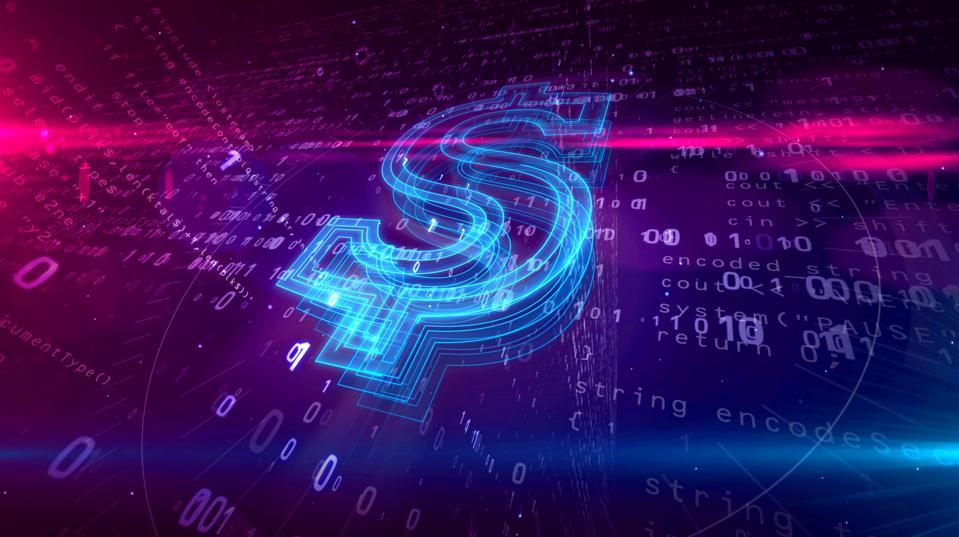 Signe de dollar sur fond de cyber
