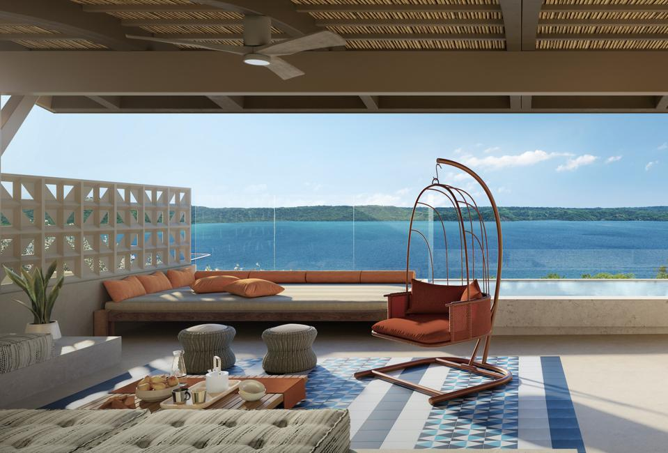 A private outdoor rooftop at an Andaz residence.