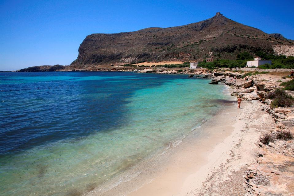 Punta Lunga beach. Favignana island. Aegadian Islands. Sicily. Italy