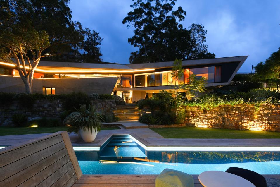 swimming pool and backyard at 25 Neerim Road Castle Cove, Sydney, Australia