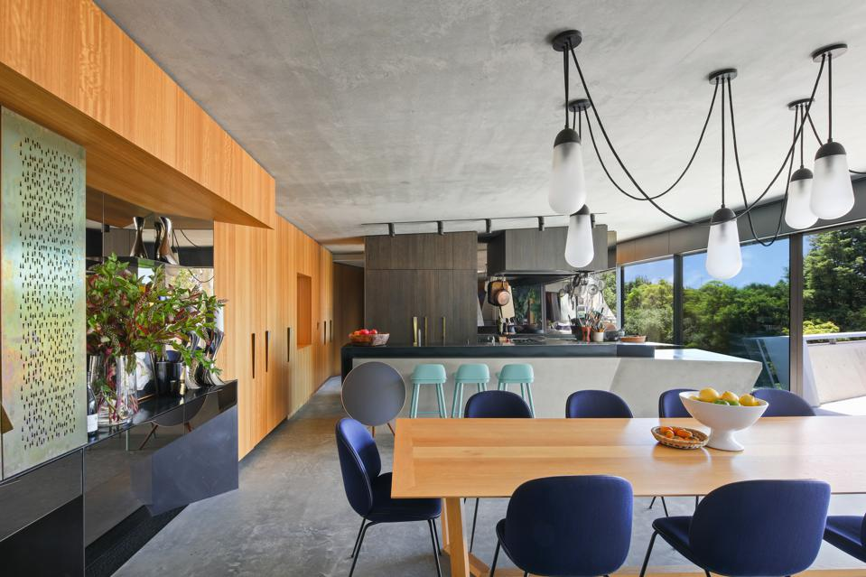kitchen and dining room inside modern home at 25 Neerim Castle Cove, Sydney, Australia