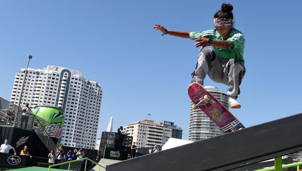 Skateboarding during the Dew Tour in Long Beach, California.