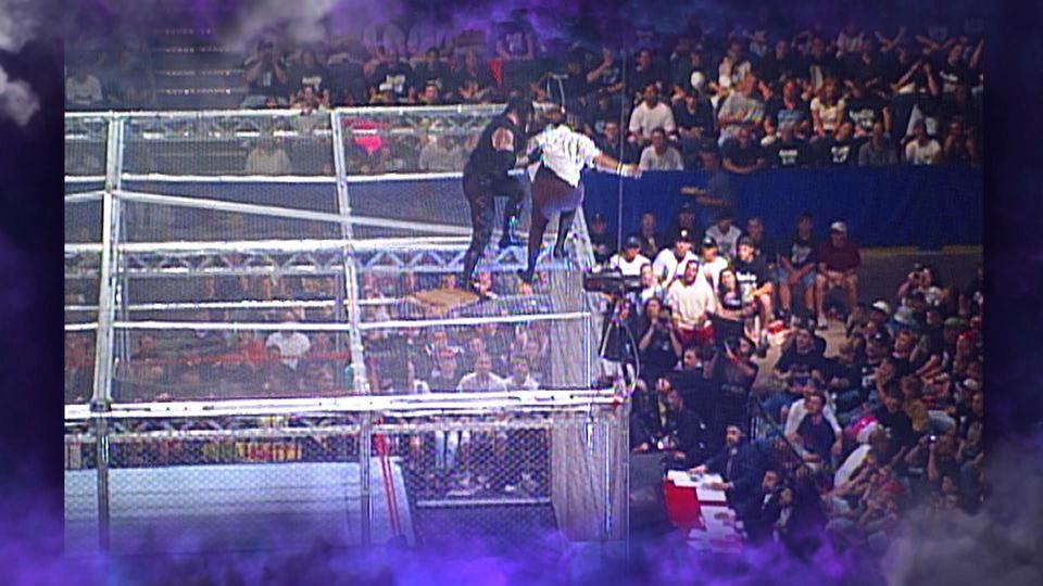 A still from the Platinum NFT tier featuring The Undertaker throwing Mick Foley from atop the Hell in a Cell in 1998.