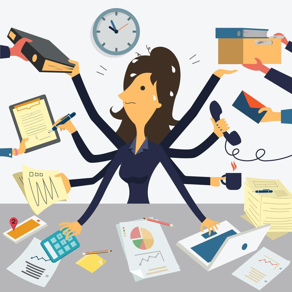 Woman frantically busy at work