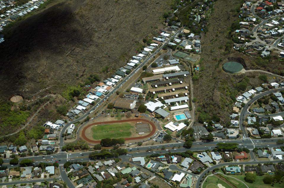 Aerial view of Kalani High School and Surrounding Area