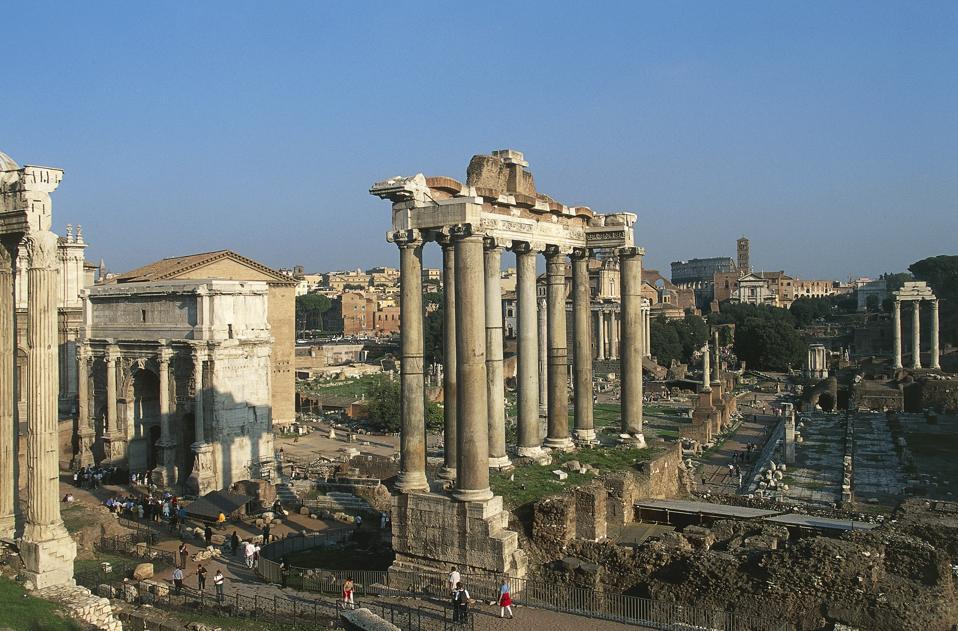 View of the Roman Forum with the Temple of Saturn, 5th century BC, Historic center of Rome (UNESCO World Heritage List, 1980), Lazio, Italy, Roman civilization