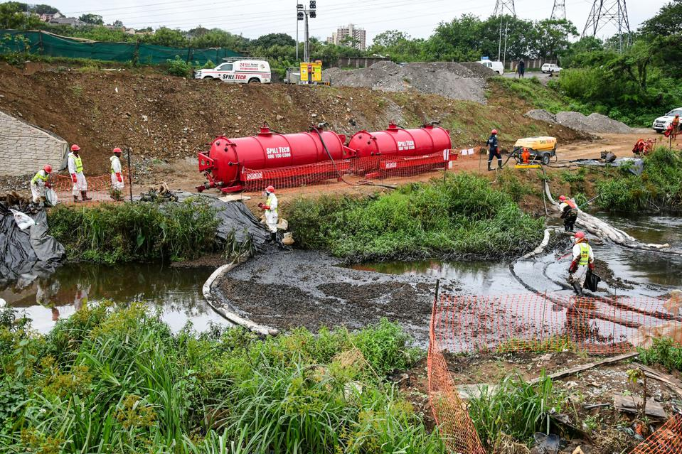 Litres of crude oil spills into Umbilo River in South Africa