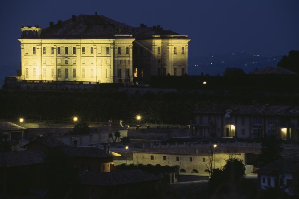 Guarene Castle, at night, Piedmont, Italy, 18th century (Photo by DeAgostini/Getty Images)