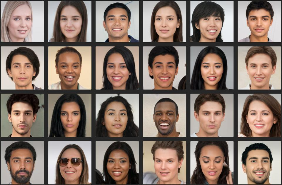 Screenshot of AI-generated faces created by Generated Photos.