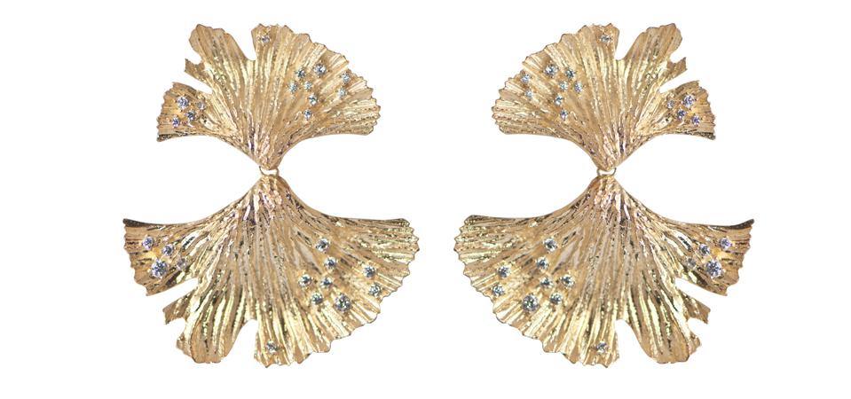 Golden Hues Gingko Earrings by Apples & Figs