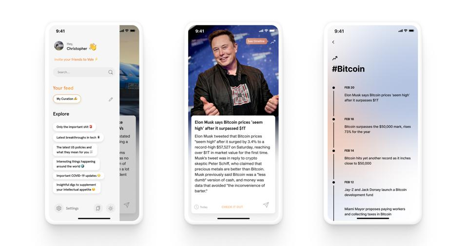 Volv app screenshots are shown with Bitcoin and Elon Musk articles