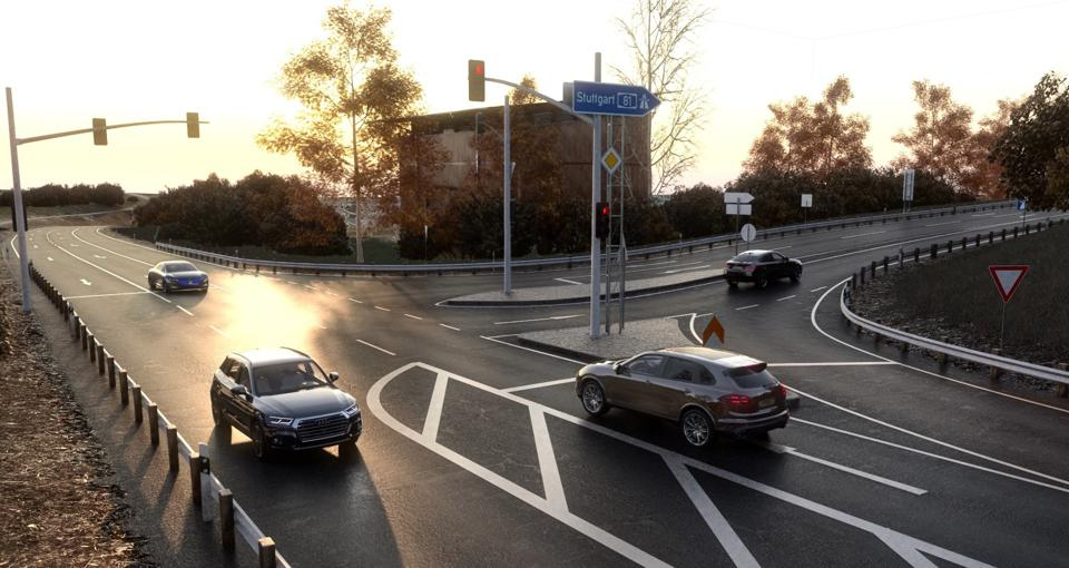 Rendered scene from Nvidia Drive Sim 2.0 running on Omniverse with ray tracing capability
