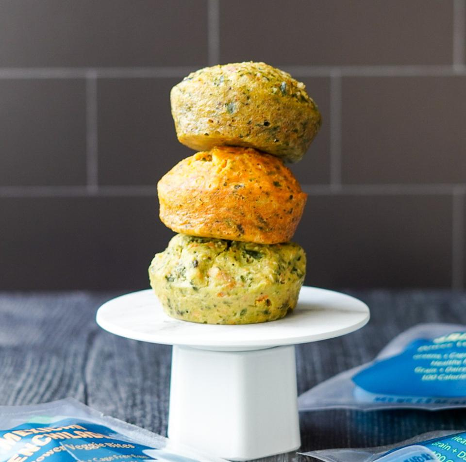 three quinoa and egg bites on a stand