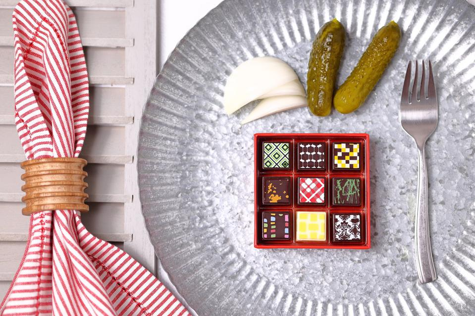 box of chocolates on a plate