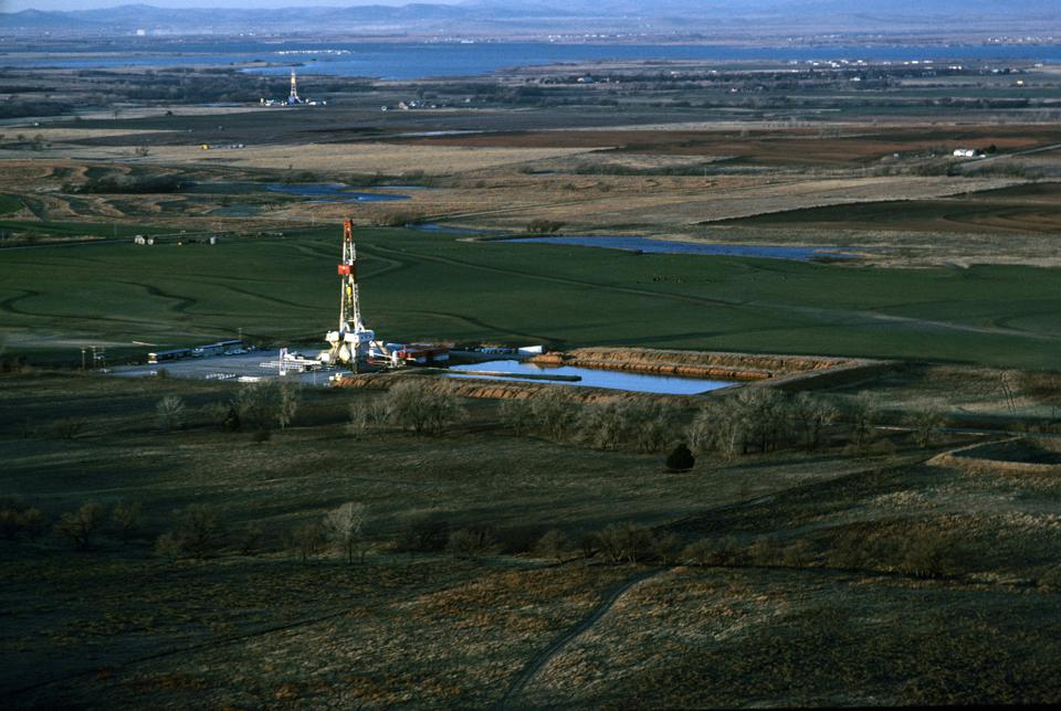 On-shore oil rig in fields of Oklahoma