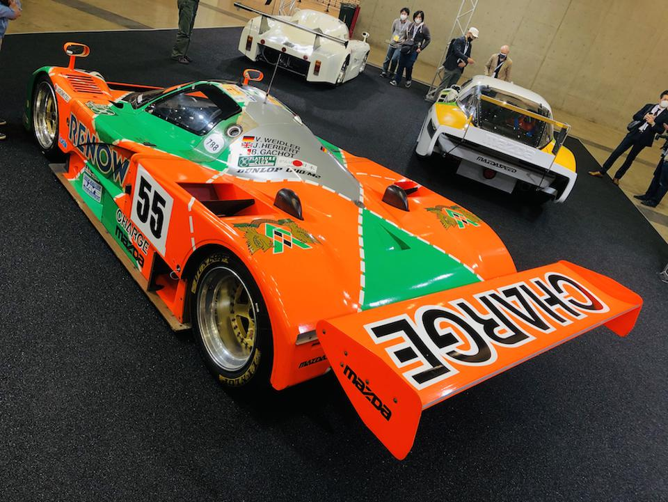 Three rotary-powered race cars graced the Mazda Le Mans' victory 30th anniversary stand.