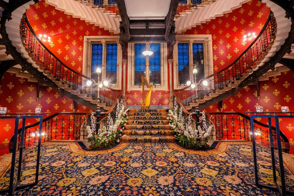 The staircase at the St Pancras Renaissance Hotel.