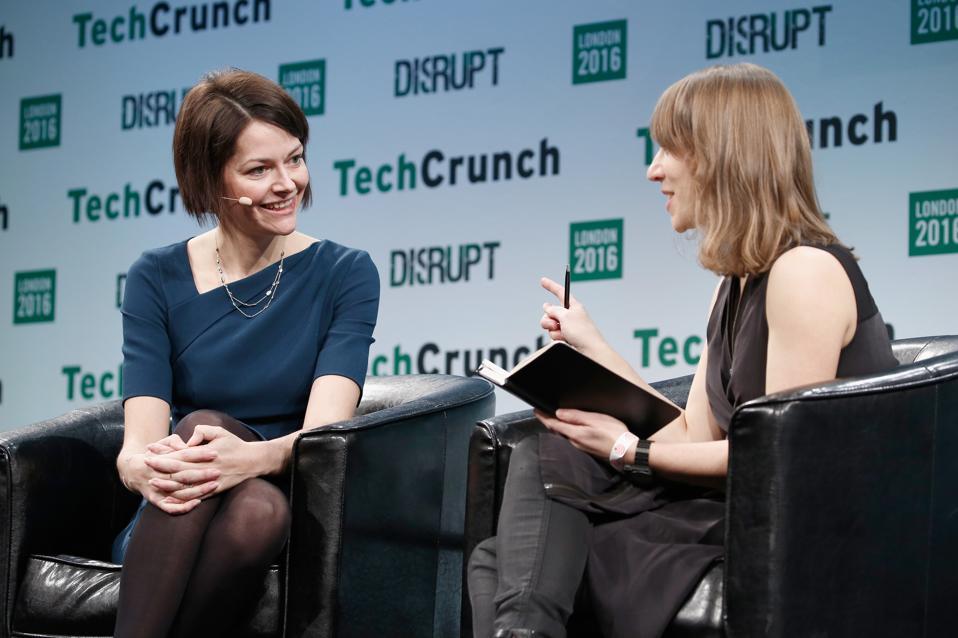 CEO of Darktrace Poppy Gustafsson speaking at TechCrunch Disrupt