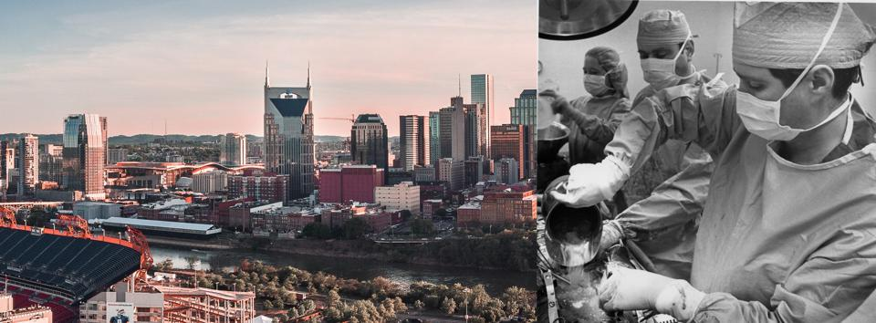 Downtown Nashville skyline; Dr. Bill Frist performing a heart transplant at Vanderbilt, now world's largest program.