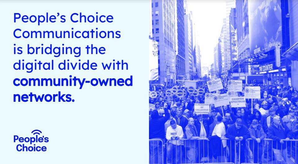 A blue and white poster for People's Choice Communications.