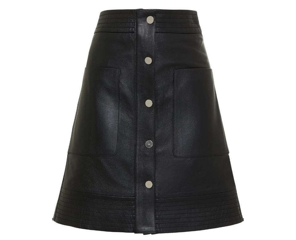 Leather Multi Stitch Popper Mini Skirt by Karen Millen