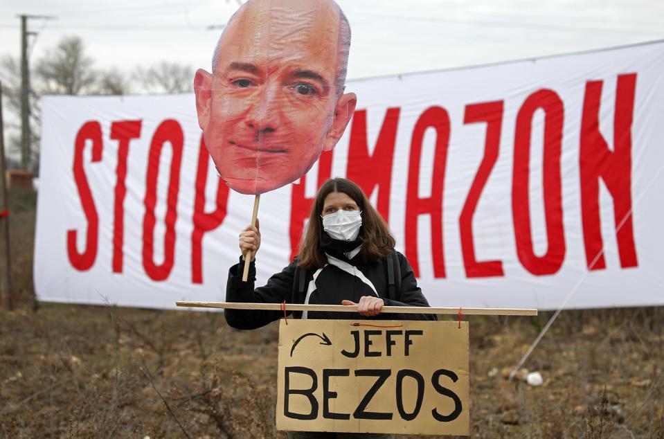 Protestors Gather At Contested Future Amazon Warehouse Site