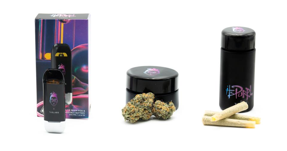 ItsPurple x 710 Labs cannabis offerings, from left to right: vape pen with pod, eighths, and joint packs aka ″noodle doinks.″