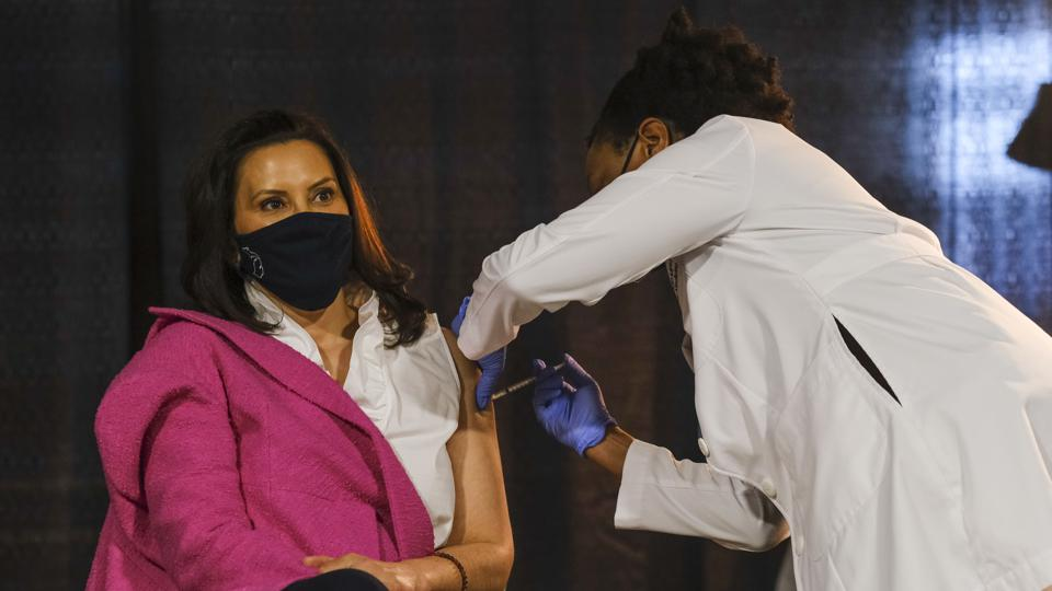 Michigan Gov. Gretchen Whitmer Receives Vaccine As State Sees Large Surge In COVID-19 Cases