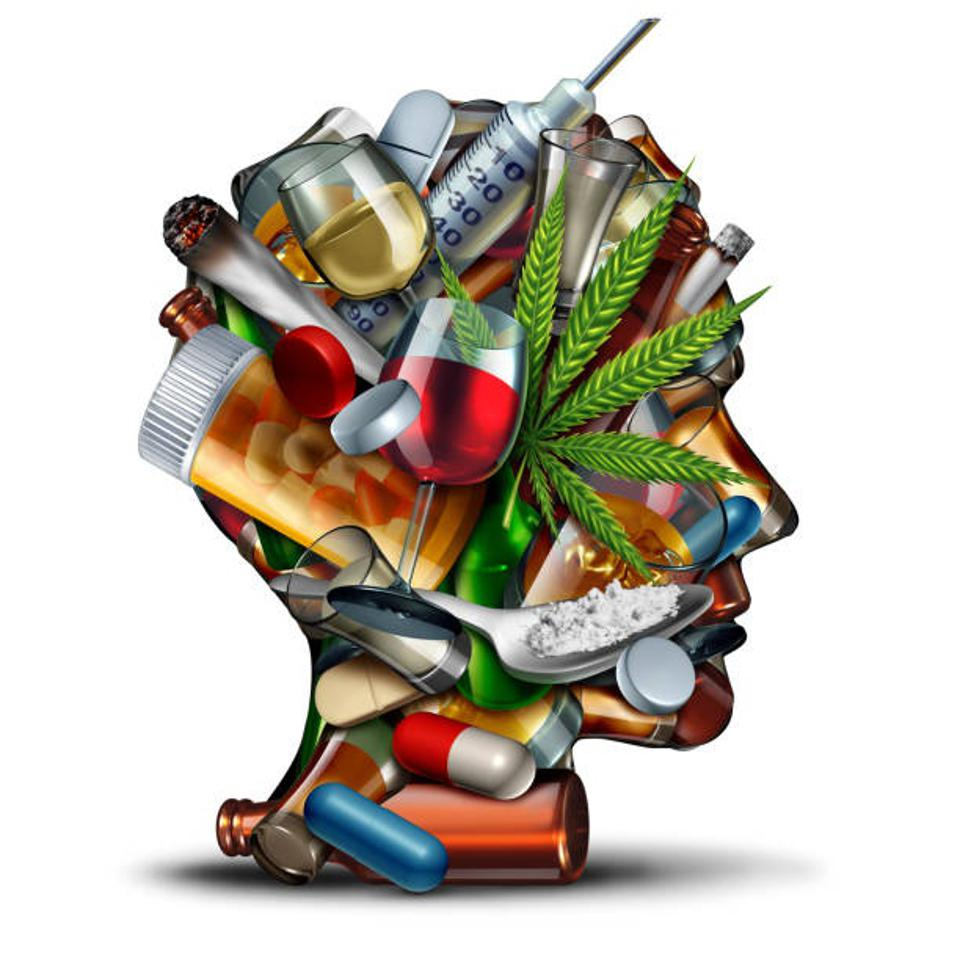 Concept of addiction and substance dependence with 3D illustration elements.