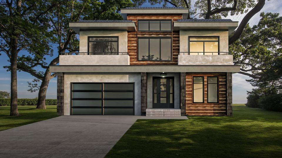 render of custom, luxury modular home