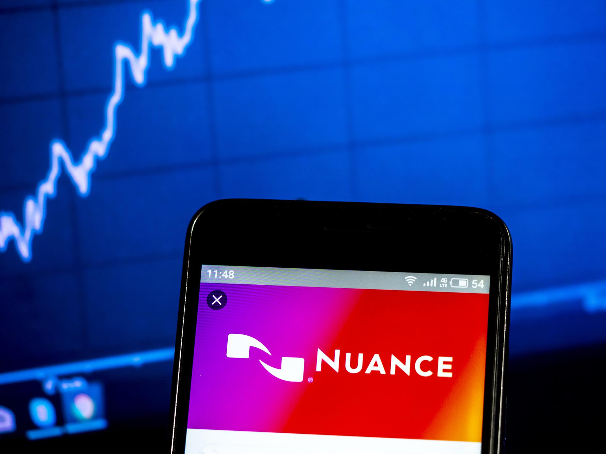 Nuance Communications logo on a smartphone.