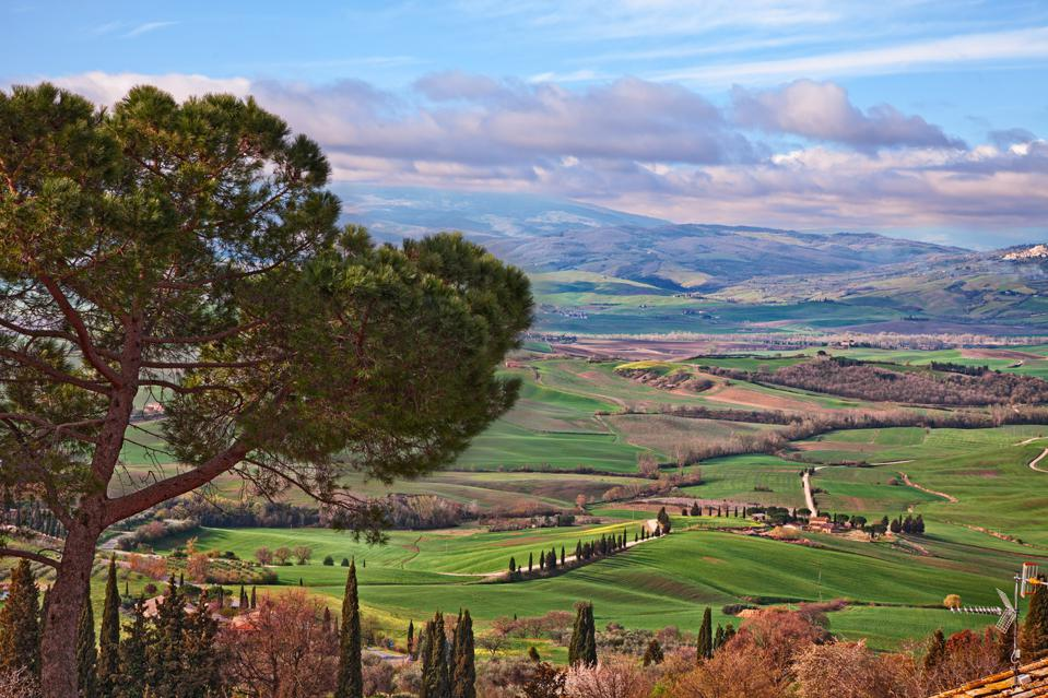 Pienza, Siena, Tuscany, Italy: landscape of the Vall d'Orcia hills