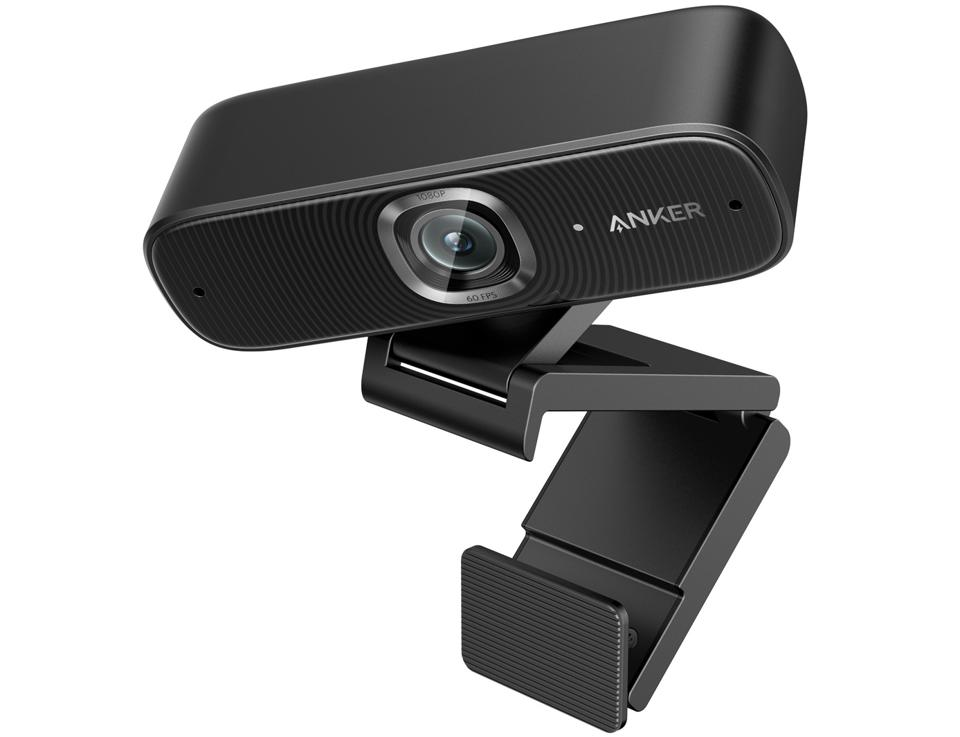 View of AnkerWork PowerConf C300 webcam with stand