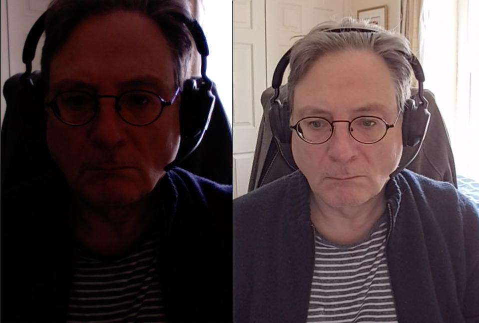 Two images of a male side by side. One is a dark image the other looks normal