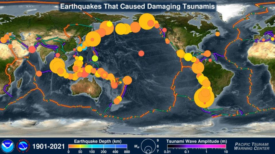 Screenshot of animated map showing 120 years of earthquakes and tsunamis.