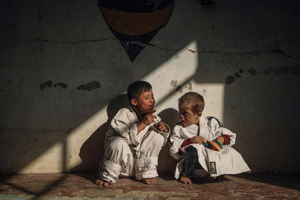two boys in karate kit