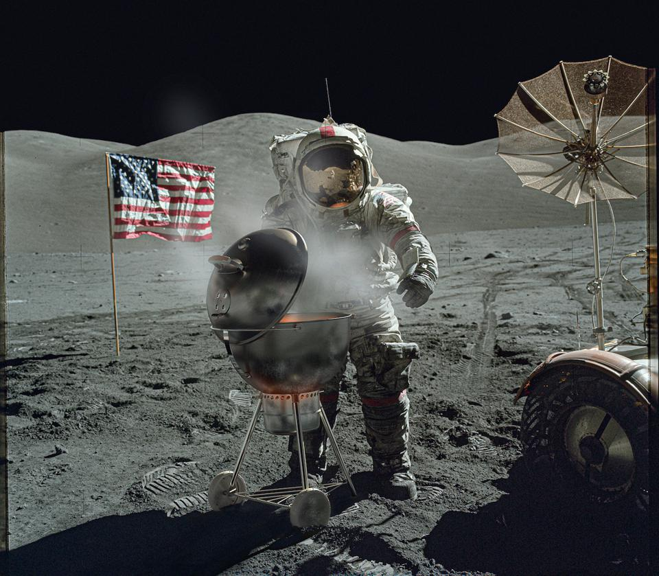 man on moon with barbecue and flag