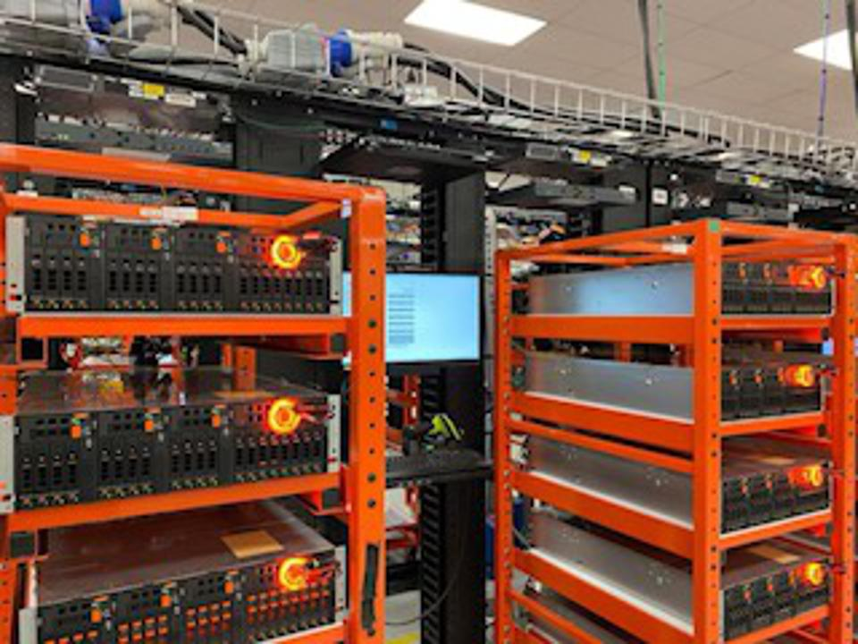 Picture of Flash Arrays in Test Racks