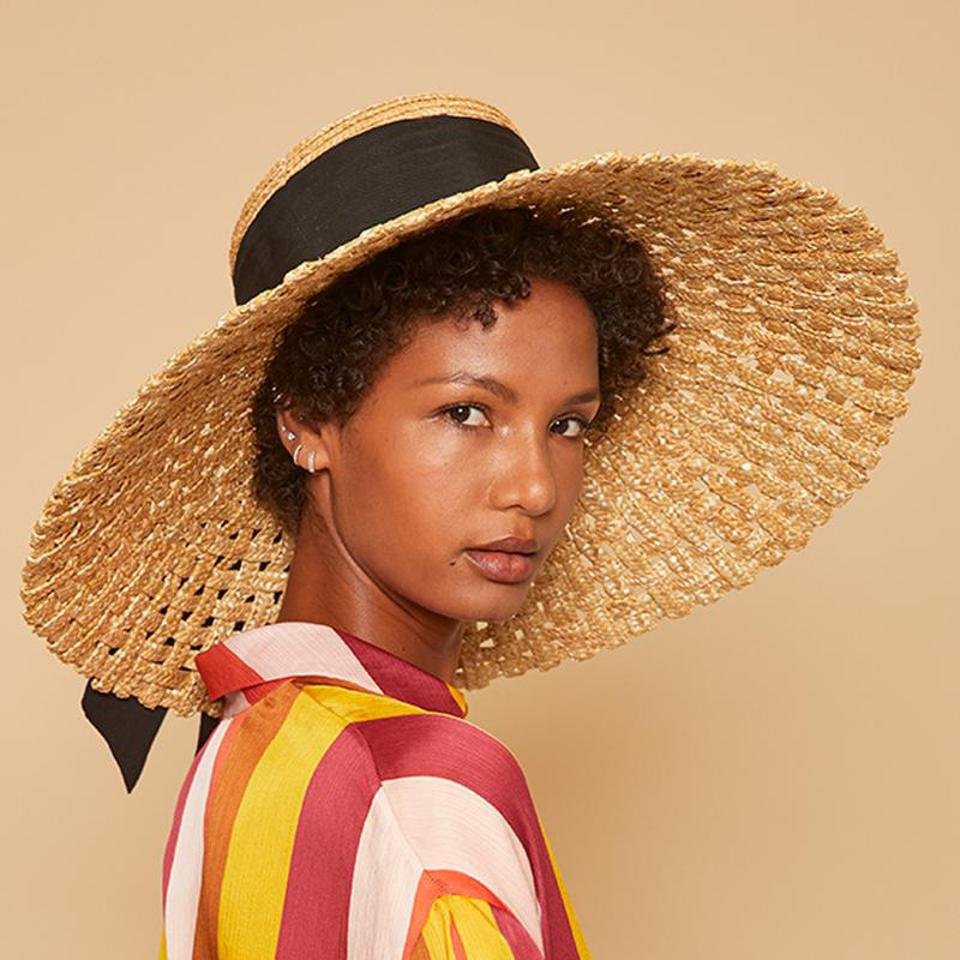 Mirabel woven hat with black trim by EUGENIA KIM