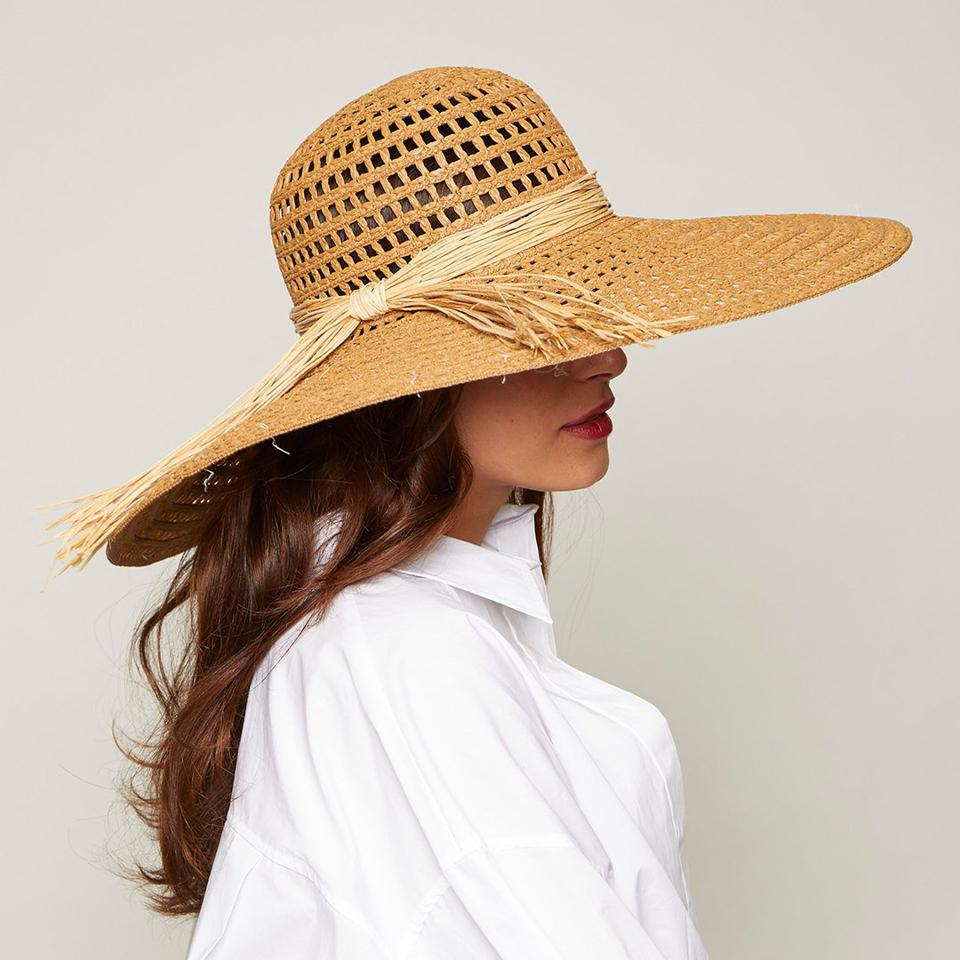Sunny woven hat with straw trim by EUGENIA KIM