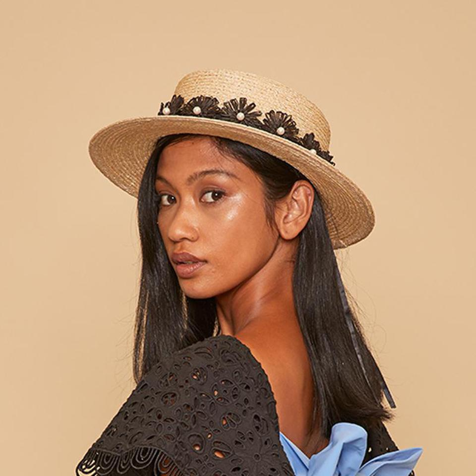 Bridgette boater hat with flora and pearl trim by EUGENIA KIM